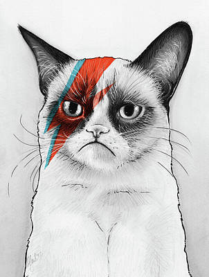 Mixed Media Art Drawing - Grumpy Cat As David Bowie by Olga Shvartsur
