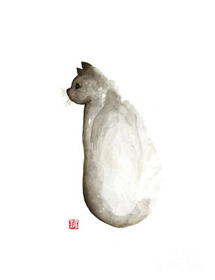 Grumpy Cat Minimalist Painting For Sale Art Print by Joanna Szmerdt