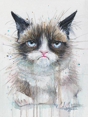 Watercolor Pet Portraits Painting - Grumpy Cat Watercolor Painting  by Olga Shvartsur