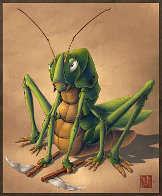 Grasshopper Mixed Media - Grumpy Grasshopper by James Ng