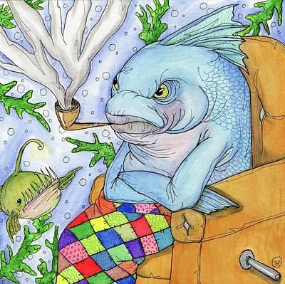 Painting - Grumpy Grouper by Julie McDoniel