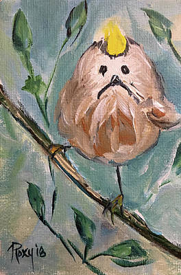 Blue Painting - Grumpy Little Tit Bird by Roxy Rich