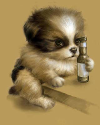 Grumpy Puppy Needs A Beer Art Print