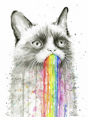 Rainbow Wall Art - Painting - Grumpy Rainbow Cat by Olga Shvartsur