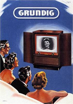 Mixed Media - Grundig - German Company - Vintage Advertising Poster by Studio Grafiikka