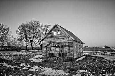 Photograph - Grundy Country School Bnw by Bonfire Photography