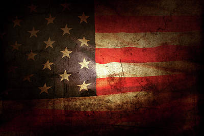 Photograph - Grunge American Flag 13 by Les Cunliffe