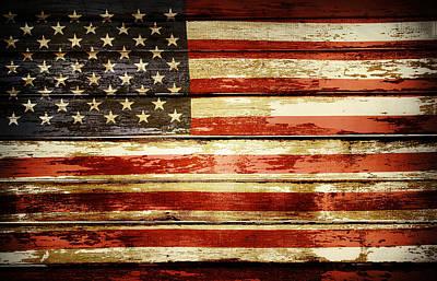 Grunge American Flag Art Print by Les Cunliffe