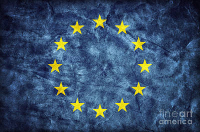 Unity Photograph - Grunge European Union Flag by Michal Bednarek