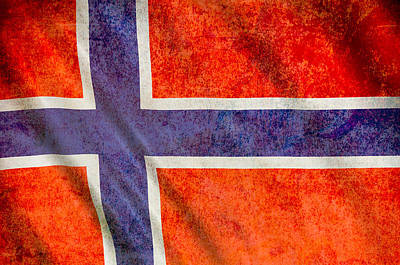 Mixed Media - Grunge Flag Of Norway by Dan Sproul