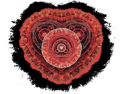 Digital Art - Grunge Fractal Heart by Martin Capek