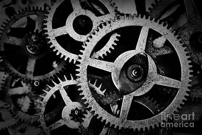 Connect Photograph - Grunge Gear, Cog Wheels Black And White Background by Michal Bednarek