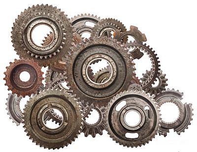 Motor Photograph - Grunge Gear Cog Wheels Mechanism Isolated On White by Michal Bednarek