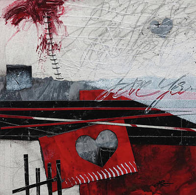 Mixed Media - Grunge Heart  by Laura Lein-Svencner