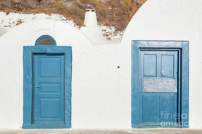 Photograph - Grunge Old Blue Doors In Oia Town, Santorini, Greece. by Michal Bednarek