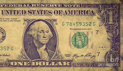 Note Photograph - Grunge One Dollar Bill by Michal Bednarek