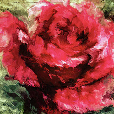 Mixed Media - Grunge Passion Rose Abstract Realism by Georgiana Romanovna