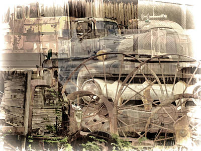 Mixed Media - Grunge Pile In Sepia 2 by Lynda Lehmann