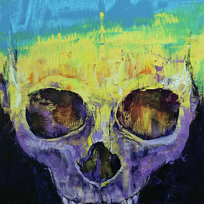 Multi Colored Painting - Grunge Skull by Michael Creese