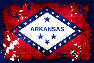 Arkansas Photograph - Grunge Style Arkansas Flag by David G Paul