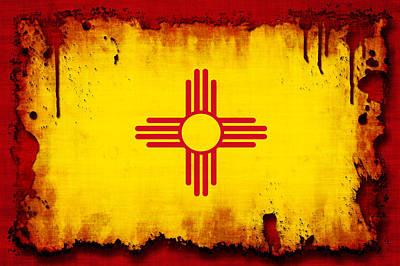 Grunge Style New Mexico Flag Art Print