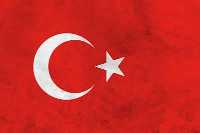 Republic Mixed Media - Grunge Turkey Flag by Dan Sproul