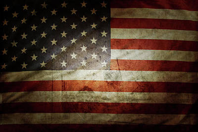 Grunge Usa Flag Print by Les Cunliffe