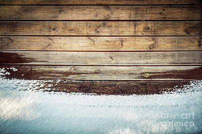 Shiny Photograph - Grunge Wooden Board In Snow. Winter Background by Michal Bednarek