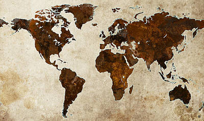 Grunge World Map Art Print by Gary Grayson