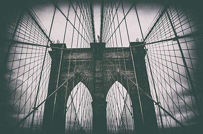 New York Harbor Photograph - Grungey Brooklyn Bridge by Martin Newman