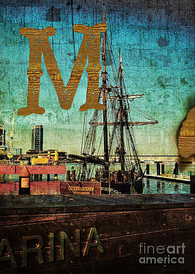 Photograph - Grungy Melbourne Australia Alphabet Series Letter M Marina Dockl by Beverly Claire Kaiya