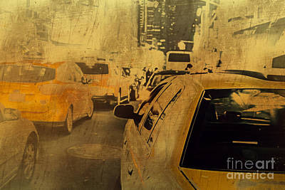 Rush Hour Digital Art - Grungy Traffic Jam by Terry Weaver