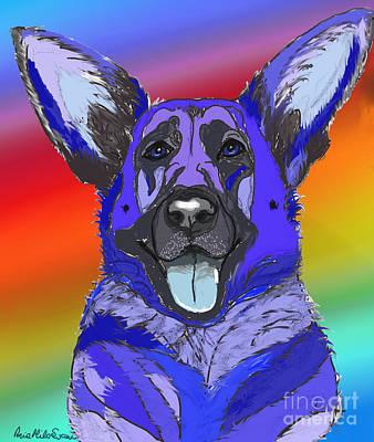 Digital Art - Gsd In Digi Blue by Ania M Milo