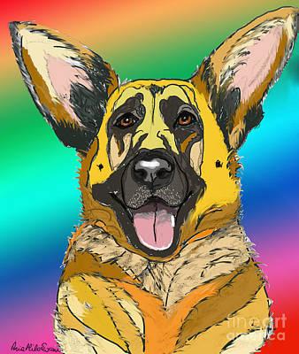 Digital Art - Gsd In Digi Yellow by Ania M Milo