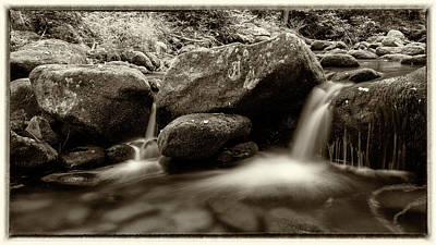 Gsmnp Roaring Fork - Sepia With Border Print by Stephen Stookey