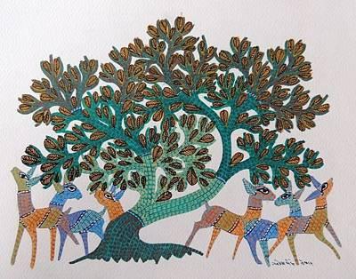 Gond Art Painting - Gst 101 by Gareeba Singh Tekam