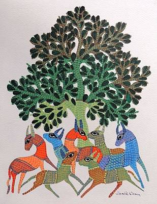 Gond Art Painting - Gst 103 by Gareeba Singh Tekam