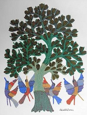 Gond Tribal Art Painting - Gst 63 by Gareeba Singh Tekam