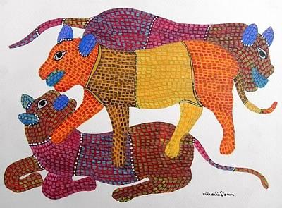 Gond Tribal Art Painting - Gst 65 by Gareeba Singh Tekam