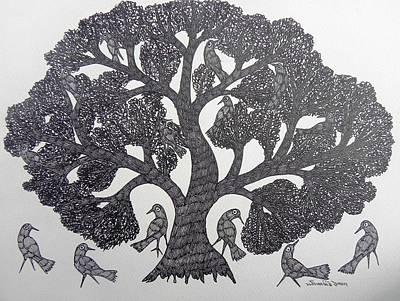 Gond Tribal Art Painting - Gst 66 by Gareeba Singh Tekam