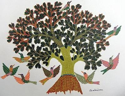 Gond Tribal Art Painting - Gst 67 by Gareeba Singh Tekam