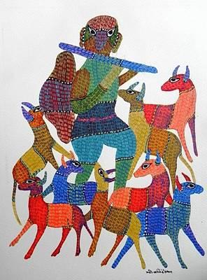 Gond Tribal Art Painting - Gst 69 by Gareeba Singh Tekam