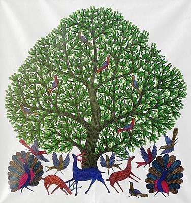 Gond Tribal Art Painting - Gst 90 by Gareeba Singh Tekam