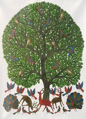 Gond Tribal Art Painting - Gst 91 by Gareeba Singh Tekam