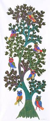 Gond Tribal Art Painting - Gst 93 by Gareeba Singh Tekam