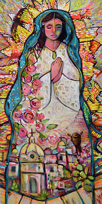 Lady Of Guadalupe Painting - Guadalupe by Jen Norton