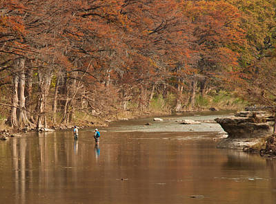 Photograph - Guadalupe River Fly Fishing by Brian Kinney