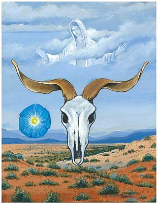 Painting - Guadalupe Visits Georgia O'keeffe by James Roderick
