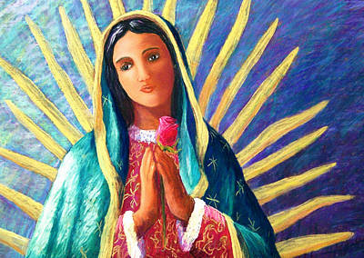 Guadalupe With Rose Art Print by Candy Mayer