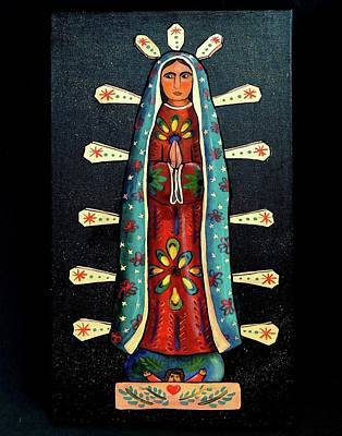 Virgen Mary Painting - Guadalupe Wood Carving by Candy Mayer